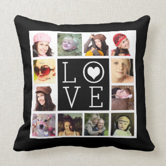 LOVE 12 Instagram Photo Collage Throw Pillow