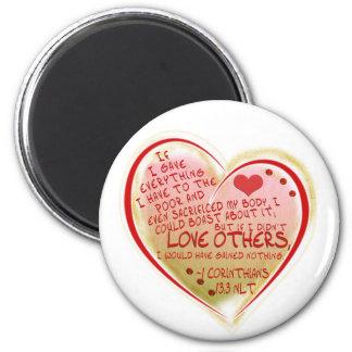 LOVE 1 Corinthians 13:3 NLT 6 Cm Round Magnet