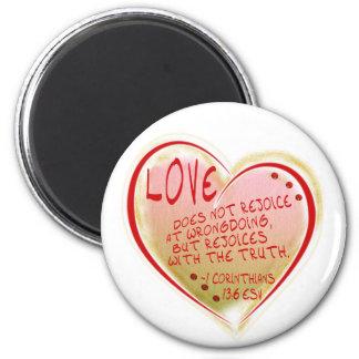 LOVE 1 Corinthians 13 :6 ESV 6 Cm Round Magnet
