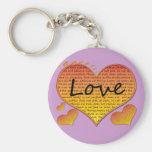 Love 1 Corinthians 13 Hearts Basic Round Button Key Ring