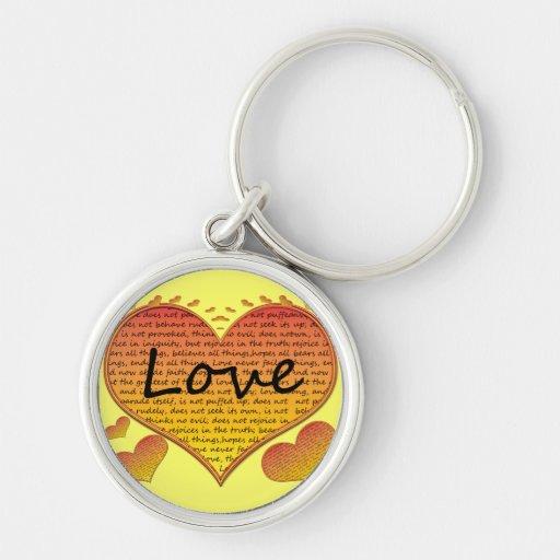 Love 1 Corinthians 13 Hearts Keychains