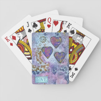 Love 3 hearts playing cards