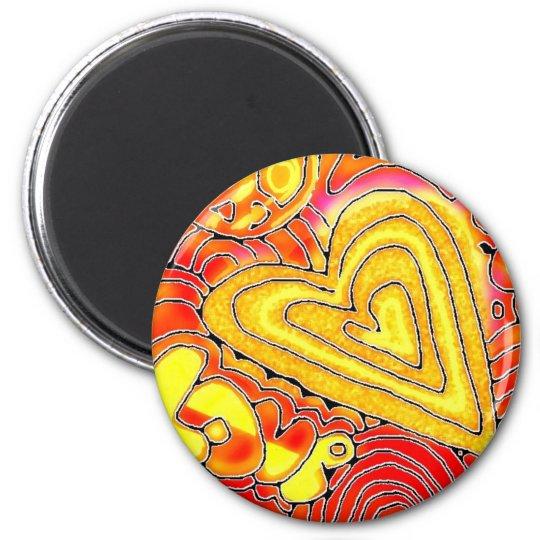 love 6 cm round magnet