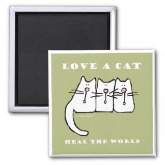 Love a Cat Three Kittens Square Magnet