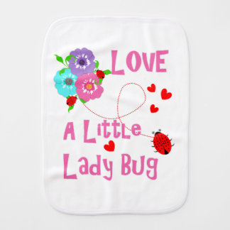 Love A Little Lady Bug Cute Kids Burp Cloth
