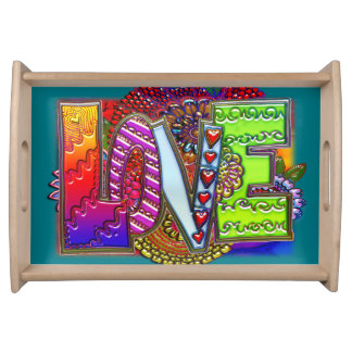 Love abstract floral art serving tray