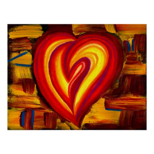 Love Abstract Heart Oil Pastel Poster Zazzle Co Uk