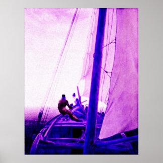 Love, adventure, bonding, oneness, ship, waves poster
