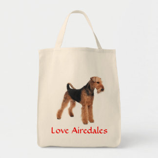 Love Airedale Terrier Puppy Dog Grocery Totebag