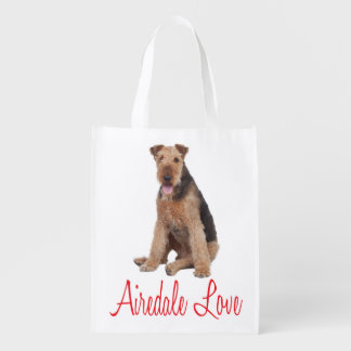 Love Airedale Terrrier Puppy Dog Grocery Tote Bag
