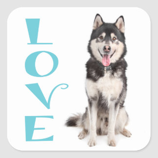 Love Alaskan Malamute Puppy Dog Sticker / Seal