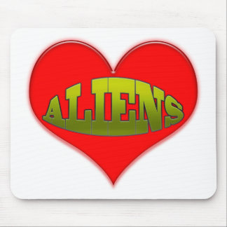 Love Aliens Heart Mouse Pad