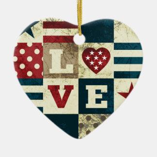 Love America Patriotic Christmas Ornament