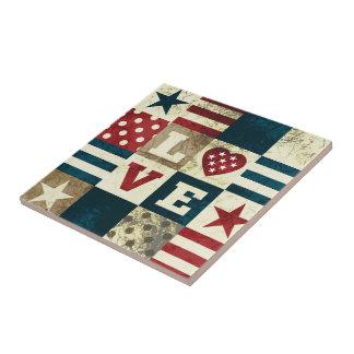 Love America Patriotic Small Square Tile