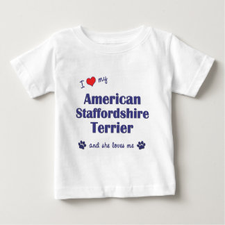 Love American Staffordshire Terrier (Female Dog) T Shirts