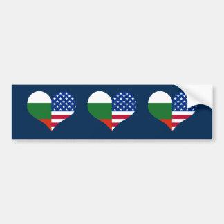 Love American/USA and Bulgarian Flag Bumper Sticker