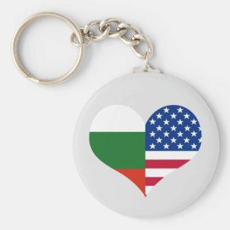 Love American/USA and Bulgarian Flag Key Ring