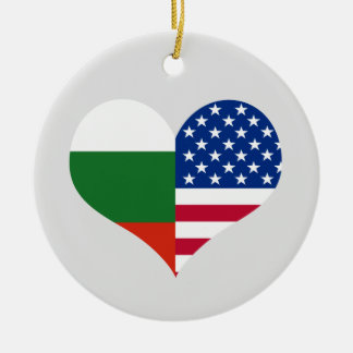 Love American/USA and Bulgarian Flag Round Ceramic Decoration