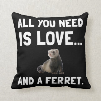 Love And A Ferret Throw Cushions