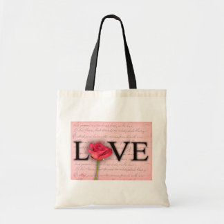 Love and a red rose budget tote bag