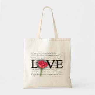 Love and a rose budget tote bag