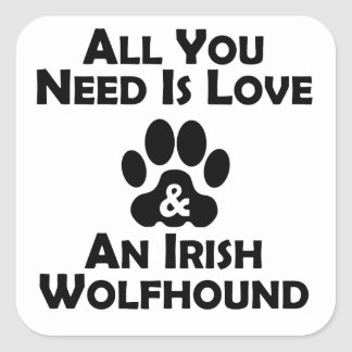 Love And An Irish Wolfhound Square Stickers