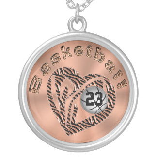 Love and Basketball Necklace Basketball Open Heart