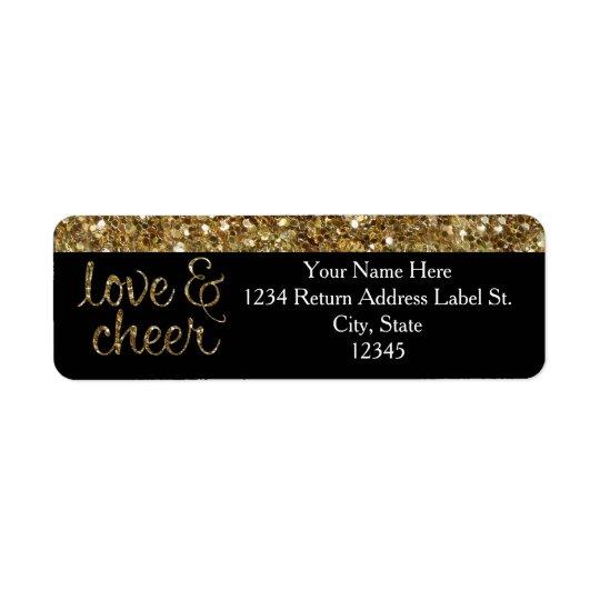 Love and Cheer Glitter Shiny Effect Christmas Return Address Label