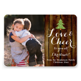 Love and Cheer Script Christmas Photo Card 13 Cm X 18 Cm Invitation Card