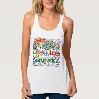 Love and Compassion Collage of Peace Flowy Racerback Tank Top