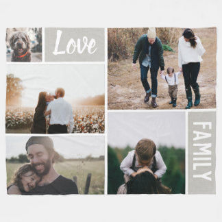 Love and Family Photo Collage Fleece Blanket
