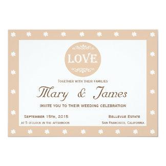 LOVE AND FLOWERS  beige horizontal frame 13 Cm X 18 Cm Invitation Card