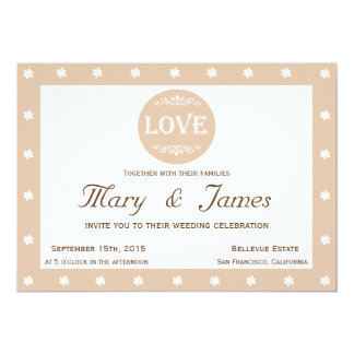 LOVE AND FLOWERS  beige horizontal frame 13 Cm X 18 Cm Invitation Card