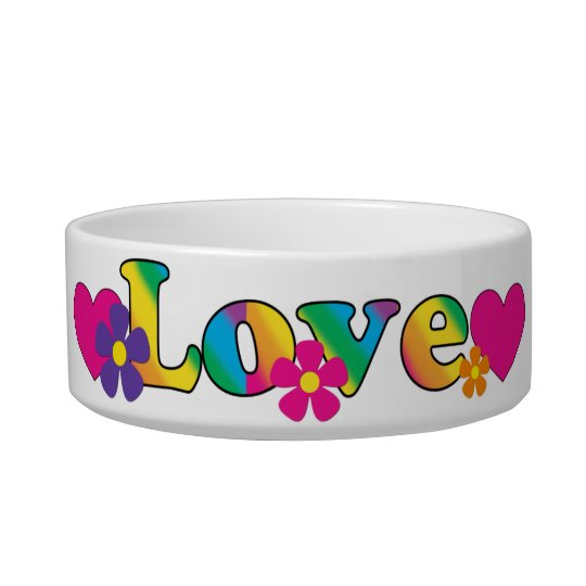 Love and Flowers Bright Colours 60s Hippie Design Bowl