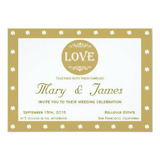 LOVE AND FLOWERS green horizontal frame 13 Cm X 18 Cm Invitation Card