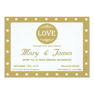 LOVE AND FLOWERS green horizontal frame 13 Cm X 18 Cm Invitation Card