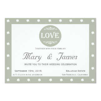 LOVE AND FLOWERS horizontal grey frame 13 Cm X 18 Cm Invitation Card