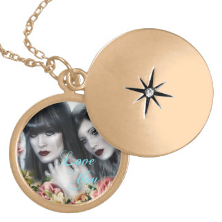 Love and Flowers Round Locket Necklace