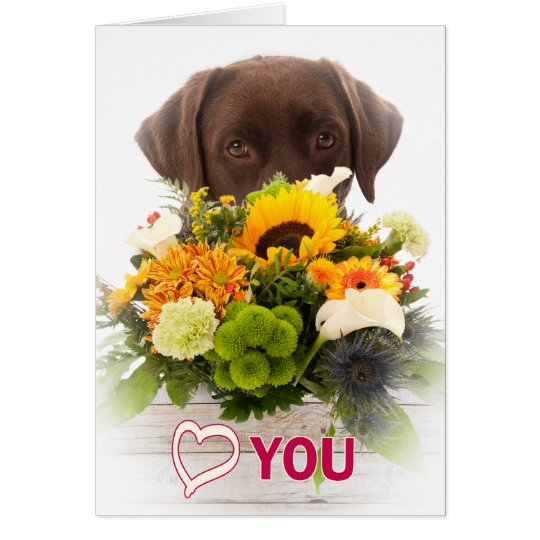 Love and flowers with Labrador dog Card