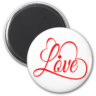 Love And Hearts Red And White Button 6 Cm Round Magnet