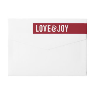 Love and joy holiday return address label wraparound return address label