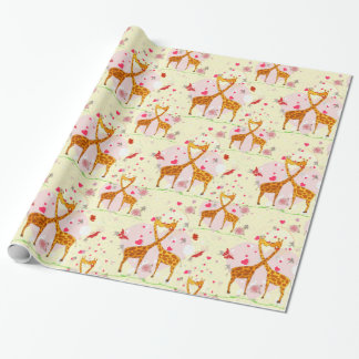 Love and Kisses Giraffes Wrapping Paper