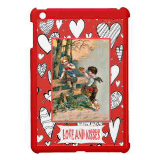 Love and kisses, young love iPad mini case