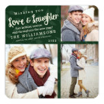 Love and Laughter Holiday Photo Card / Green 13 Cm X 13 Cm Square Invitation Card
