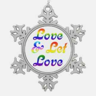 LOVE AND LET LOVE PEWTER SNOWFLAKE DECORATION