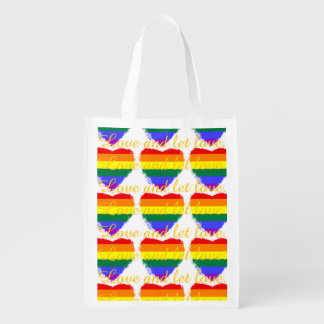 Love and let love rainbow hearts pattern reusable grocery bag