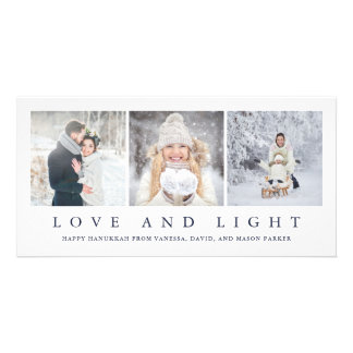 Love and Light | Modern Hanukkah Three Photos Card