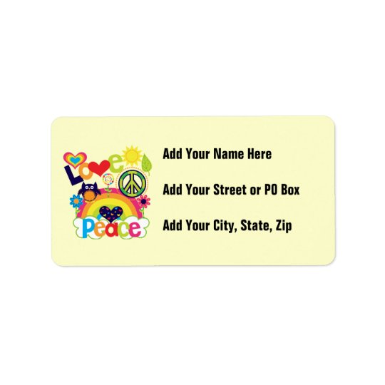 Love and Peace Baby Address Label