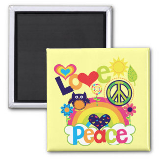 Love and Peace Baby Square Magnet