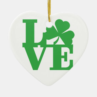 LOVE and Shamrocks Christmas Ornament